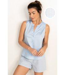pijama conjunto curto em algodão azul