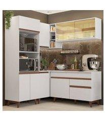 cozinha completa de canto madesa reims 332001 com armário e balcão branco branco