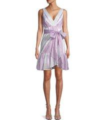 rebecca taylor women's linen-blend striped faux-wrap dress - lilac combo - size 2