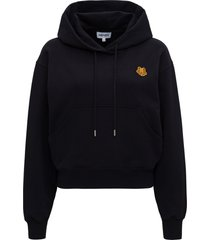 kenzo cropped hoodie with tiger crest