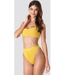 gerda x na-kd high waist smocked bikini bottom - yellow