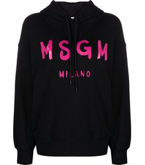 msgm cotton hoodie with logo print