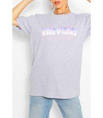 babygirl flame print t-shirt, grey marl