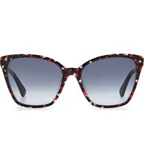 kate spade new york amiyah 56mm gradient polarized cat eye sunglasses in purple/grey shaded at nordstrom