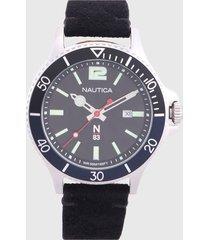 reloj negro-plateado nautica