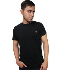 camiseta hombre summer negro bordado clásico