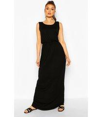 recycled basic blouson maxi dress, black
