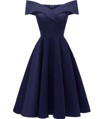 vestido de cóctel formal vendimia del partido de oscilación vestido-azul