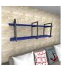 prateleira industrial para sala aço preto prateleiras 30 cm azul escuro modelo ind05azsl