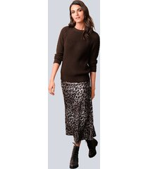kjol alba moda brun::sand::svart