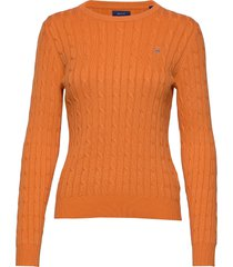 stretch cotton cable c-neck gebreide trui oranje gant