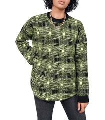 bp. + wildfang crewneck pullover, size xx-small in black- green laura ombre plaid at nordstrom