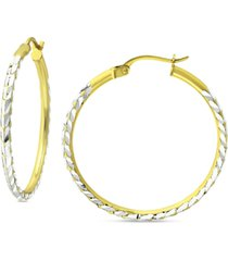 "giani bernini medium textured hoop earrings in sterling silver & 18k gold-plate, 1.18"", created for macy's"