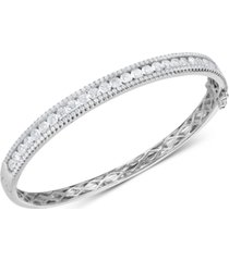 cubic zirconia bangle bracelet in sterling silver(also available in 18k gold plated sterling silver)