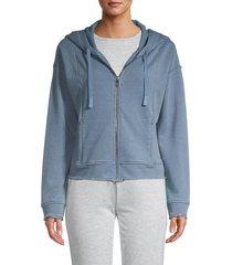 marc new york performance women's full-zip raw edge hoodie - ozone - size m