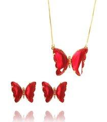 conjunto borboleta semijoia banho de ouro 18k zircônia vermelha