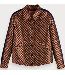 scotch & soda houndstooth jacquard trucker jacket