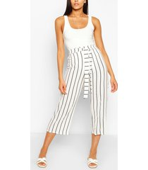 tall belted nautical stripe woven culottes, white