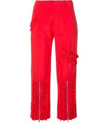 molly goddard ruched stripe cropped trousers - red