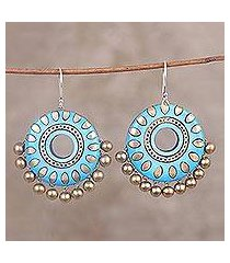ceramic dangle earrings, 'caribbean dream' (india)