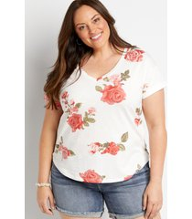 maurices plus size womens 24/7 white floral drop shoulder classic tee