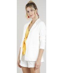 blazer feminino com bolsos em linho off white