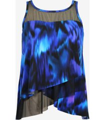 miraclesuit plus size nuage bleu mirage underwire tankini top women's swimsuit