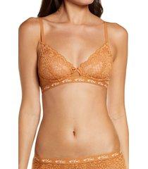 women's love, vera floral lace bralette, size large - beige