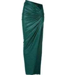 alexandre vauthier draped thigh slit skirt - green