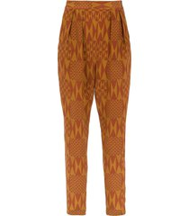 andrea marques printed silk pants - brown