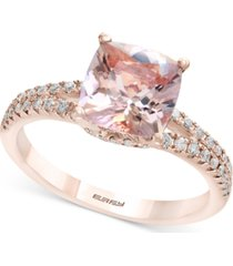 gemstone bridal by effy morganite (1-5/8 ct. t.w.) & diamond (1/4 ct. t.w.) ring in 18k rose gold