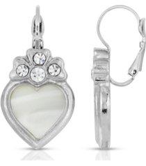 2028 crystal heart lever back earrings