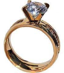 anillo acero compromiso dorado viva felicia