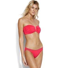 seafolly ruched bandeau bikini pink