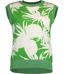 kelly green palm print sleeveless crewneck top