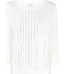 snobby sheep crystal striped sweatshirt - white