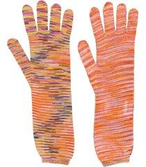 missoni intarsia knit gloves - orange