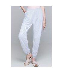 calça jogger 101 resort wear pijama bolsos cordao malha viscose branco com forro