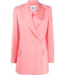 msgm peak-lapel wraparound jacket - pink