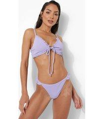 korte bikini top met geplooide zoom en strik, lilac