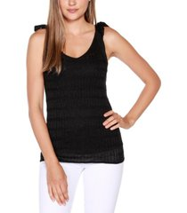 belldini black label petite v-neck sweater tank with shoulder ties