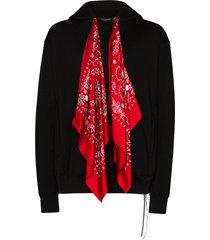 mastermind japan bandana-tie skull-motif hoodie - black