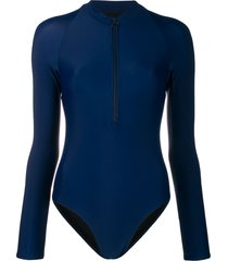 perfect moment long-sleeved zip-front swimsuit - blue