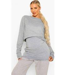 zwangerschap overlay sweater, grey marl