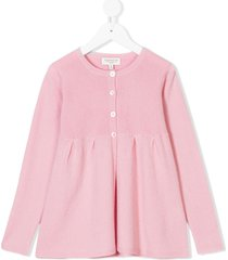 cashmirino pleated hem knitted cardigan - pink