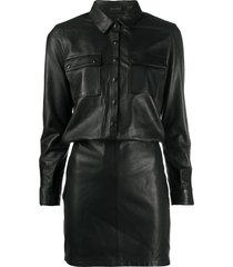 allsaints slim-fit shirt dress - black