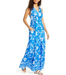 women's gibsonlook x hi sugarplum! amalfi border maxi dress, size medium - blue