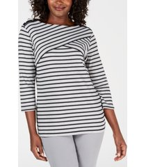 karen scott petite striped top, created for macy's