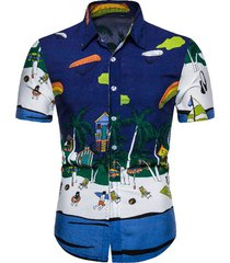 beach scenery print button up short sleeve shirt