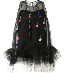 delpozo sequin-tassel sleeveless tulle top - black